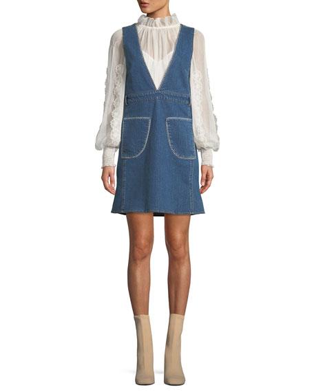 Deep-V Sleeveless Denim Mini Dress