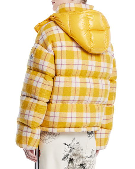 Caille Plaid Puffer Coat w/ Removable Hood
