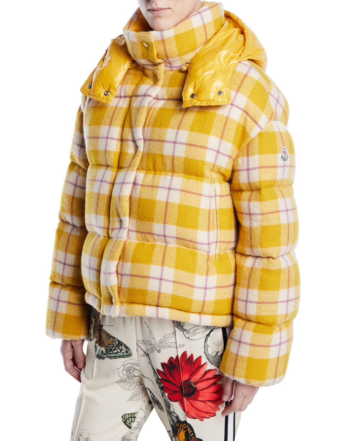 4ba119444 Moncler Caille Plaid Puffer Coat w  Removable Hood