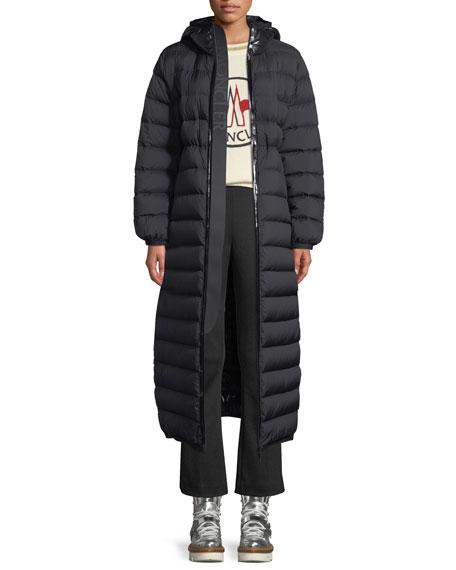 Moncler Grue Long Puffer Jacket w/ Contrast Hood