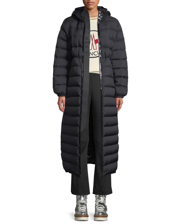 595140b3ef8e8 Moncler Grue Long Puffer Coat w  Contrast Hood