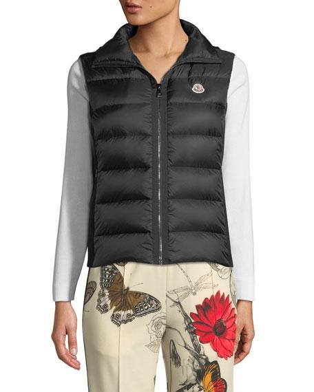 Knit-Back Down Puffer Vest