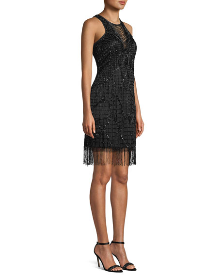 Sleeveless Little Black Cocktail Dress w/ Beading & Fringe