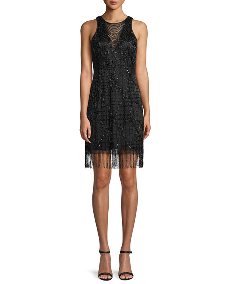 Aidan Mattox Sleeveless Little Black Cocktail Dress w/