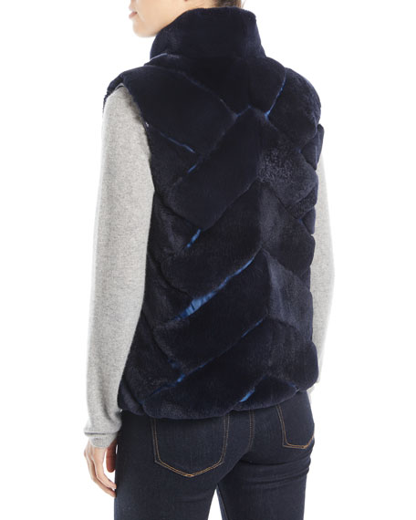 Pologeorgis Chevron-Quilted Reversible Nylon & Fur Puffer Vest