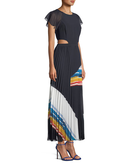 Keitha Pleated Flutter-Sleeve Maxi Dress