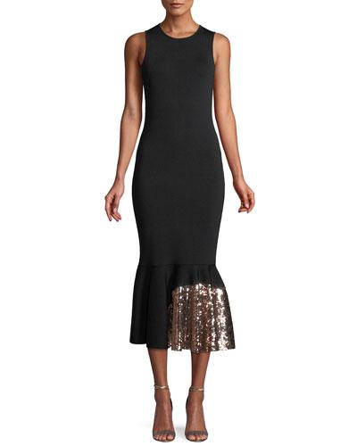 Pepenella Sleeveless Knit Gown w/ Sequin Hem