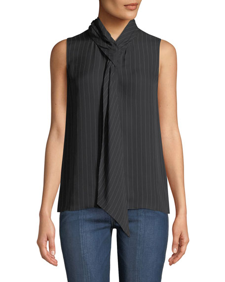 Theory Pinstriped Tie-Neck Draped Silk Shell