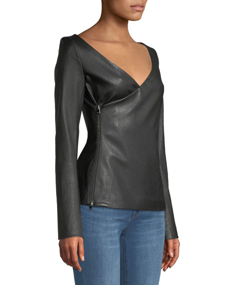 Fitted Bristol Lamb Leather Side-Zip Wrap Jacket