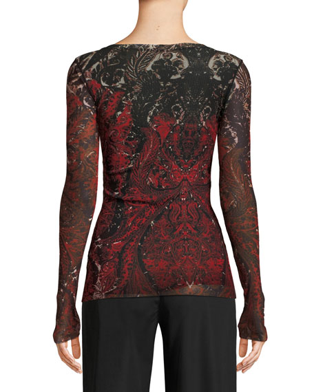 Long-Sleeve Embroidered Print Top