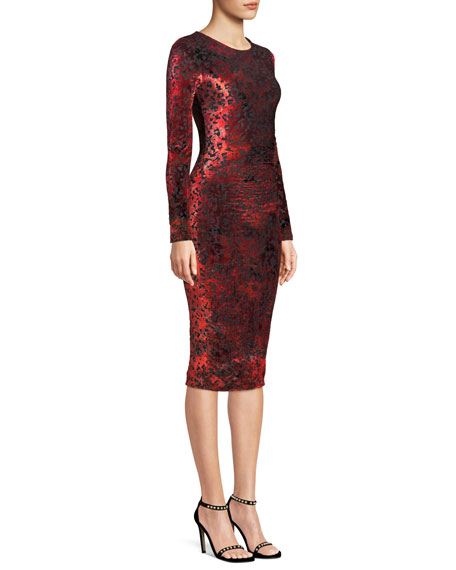 Long-Sleeve Leopard Animal-Pattern Velvet Cocktail Dress