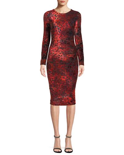 Long-Sleeve Leopard Animal-Pattern Velvet Cocktail Dress