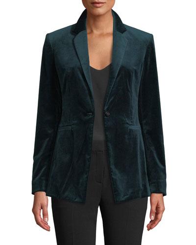 Power Velvet One-Button Blazer Jacket