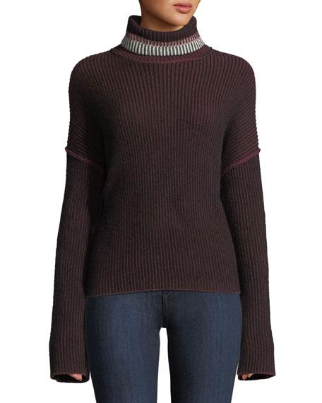 Turtleneck Oversized Mix-Stripe Cashmere Sweater