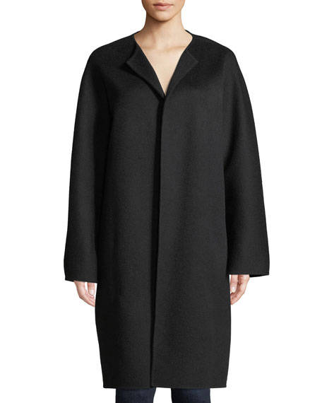 Round-Neck Open-Front New Divide Wool-Cashmere Coat