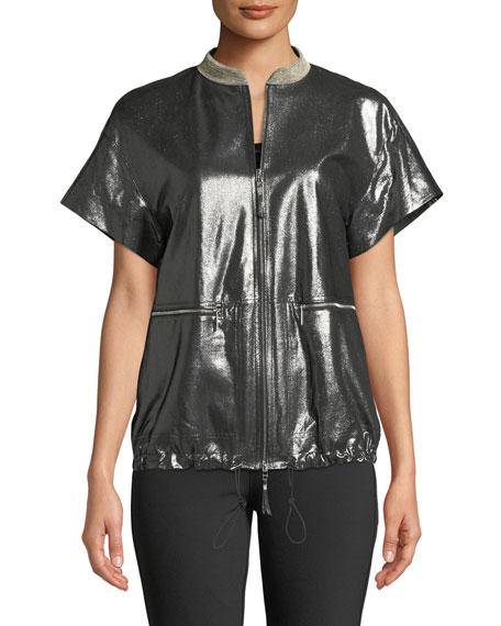 Lafayette 148 New York Jagger Stardust Glitter Suede Short-Sleeve Jacket