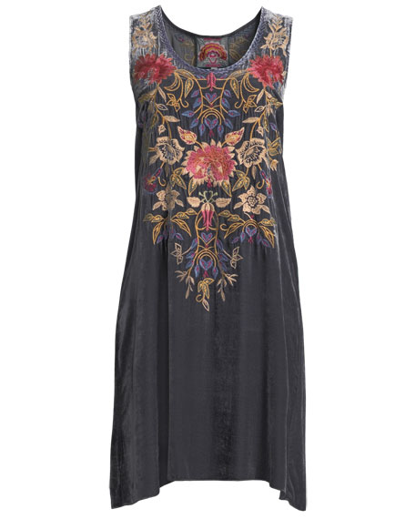 Simona Embroidered Velvet Tank Dress