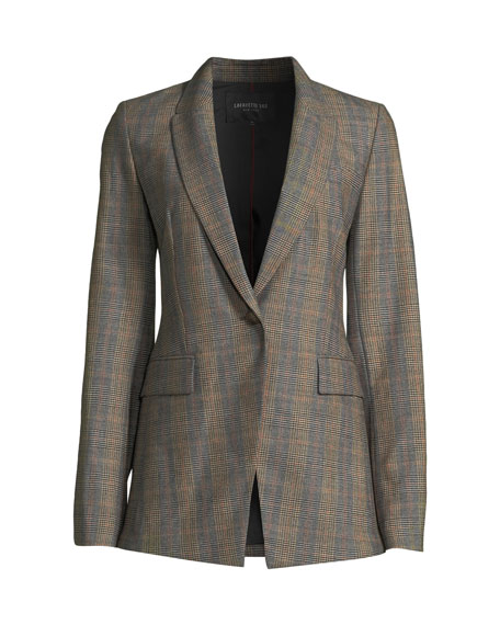 Heather One-Button Eloquent Plaid Jacket