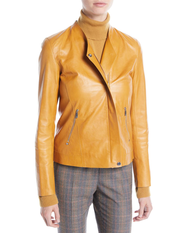 e7798122350 Lafayette 148 New York Devlin Weightless Lambskin Leather Jacket ...
