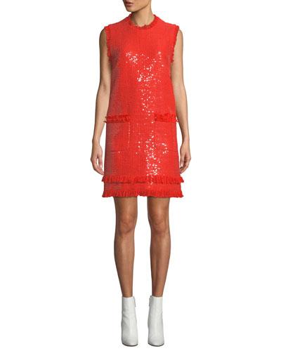 Sleeveless Sequin Crewneck Short Dress