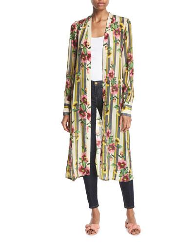 1925479161e Hand-Beaded Striped Floral Kimono