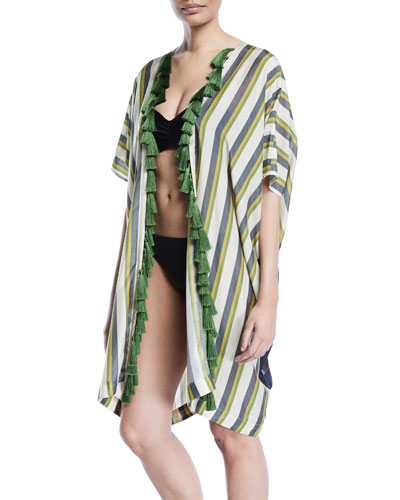 Hand-Beaded Panel-Stripe Tiger Kimono w/ Tassels