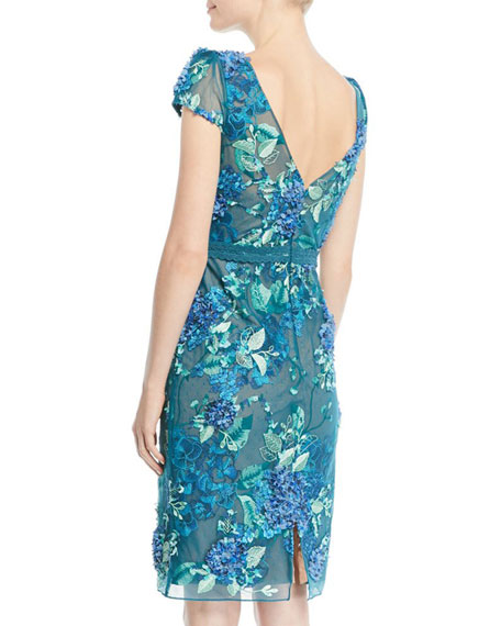 Marchesa Notte 3D Floral Embroidered Cap-Sleeve Dress