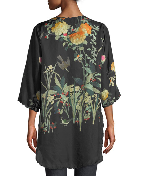 Charlotte Rose-Print Silk Blouse, Plus Size
