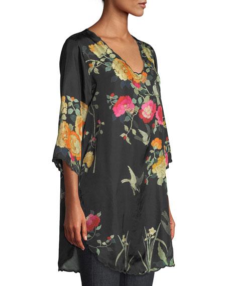 Charlotte Rose-Print Silk Blouse, Plus Size