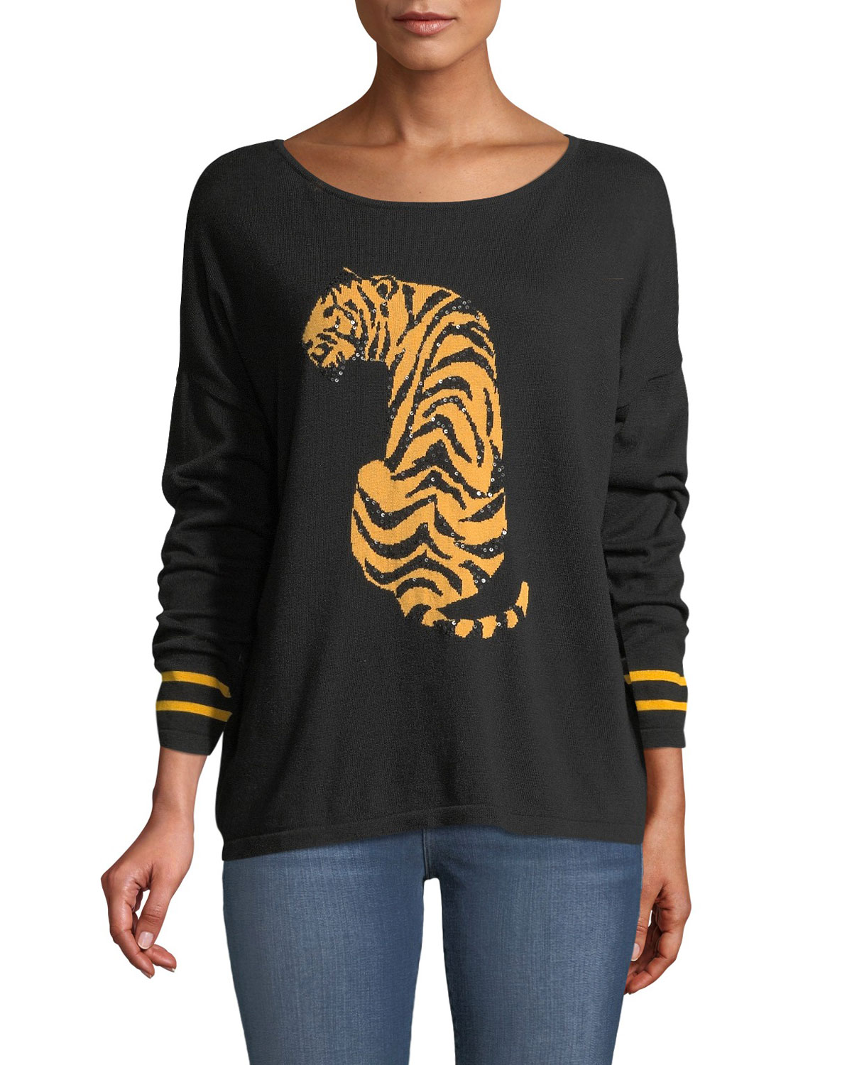8a02d48f78a Joan Vass Petite Boat-Neck Long-Sleeve Sequin-Striped Tiger-Intarsia Sweater