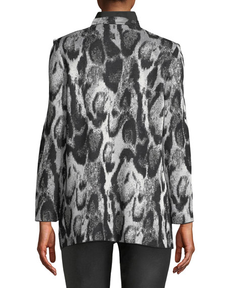 Plus Size Snow Leopard Printed Jacket w/ Shawl Front