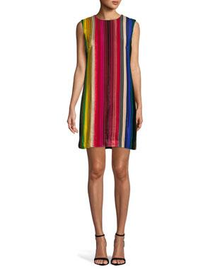 fdbe2419 Milly Gina Rainbow Velvet Shift Dress