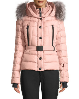a050ad97451 Moncler Grenoble Beverly Fitted Puffer Coat w  Removable Fur