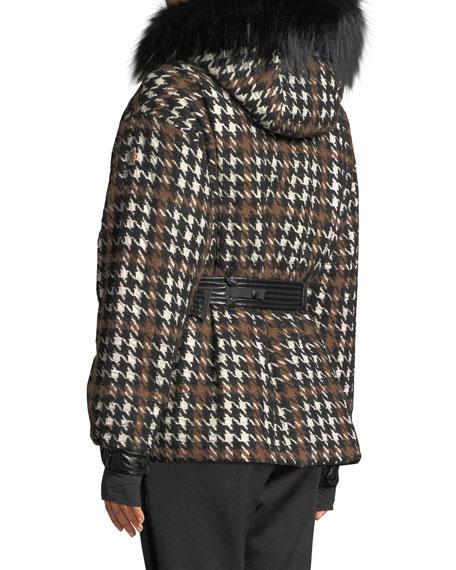 Moncler Grenoble Gardena Houndstooth Coat w/ Fur