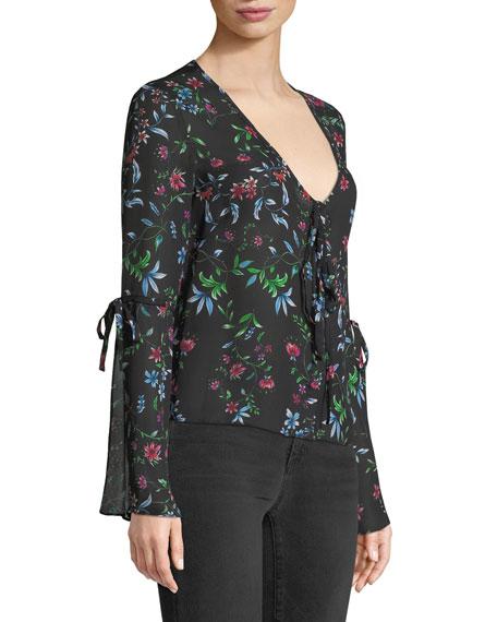Maggie V-Neck Long-Sleeve Wildflower-Print Silk Georgette Top