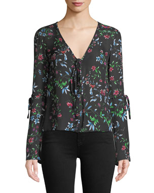 f11934d5393 Milly Maggie V-Neck Long-Sleeve Wildflower-Print Silk Georgette Top