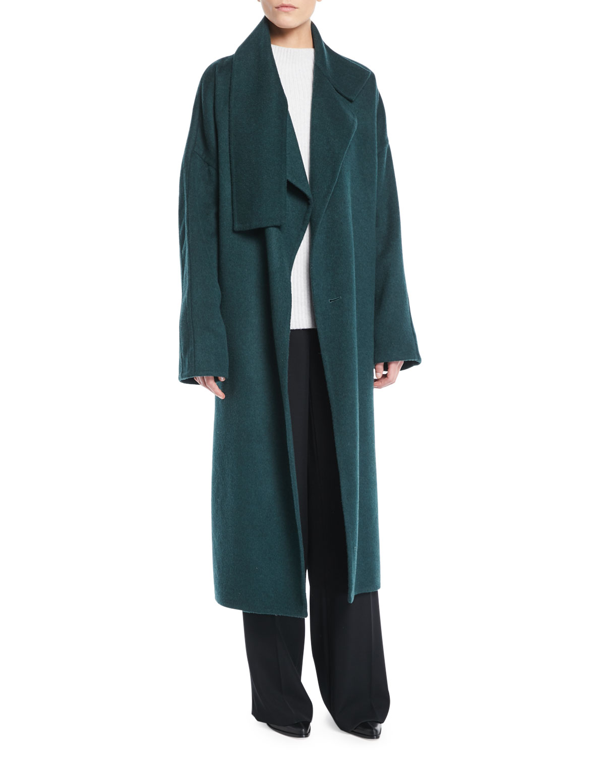 f4ae94b314df Vince Cozy Belted Long Wool Coat | Neiman Marcus