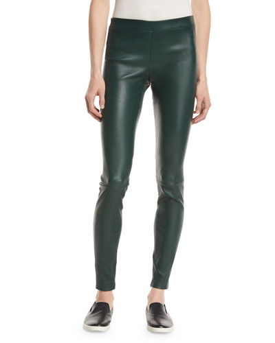 Leather Zip-Cuff Leggings