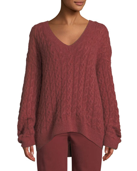 Cable-Knit V-Neck Pullover Sweater