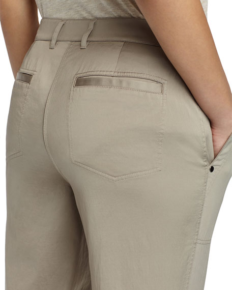 Fulton Straight-Leg Satin Cloth Pants