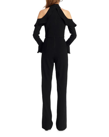 ML Monique Lhuillier Crepe Cold-Shoulder Jumpsuit