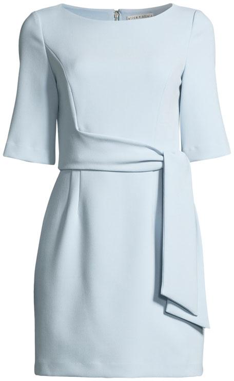 Virgil Tie-Front Boat-Neck Mini Dress
