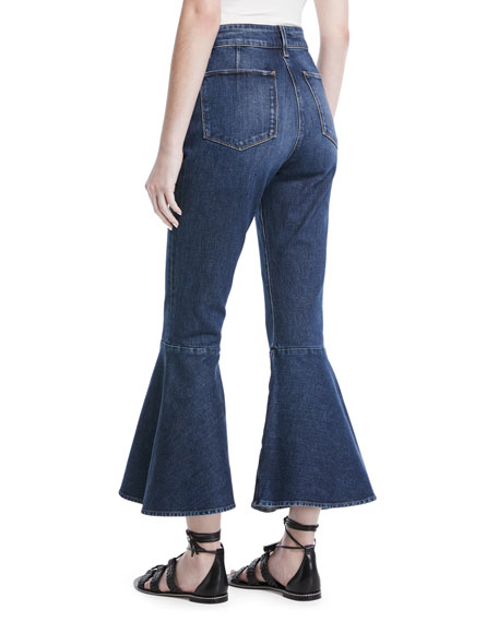 High-Waist Cropped Flare-Leg Jeans