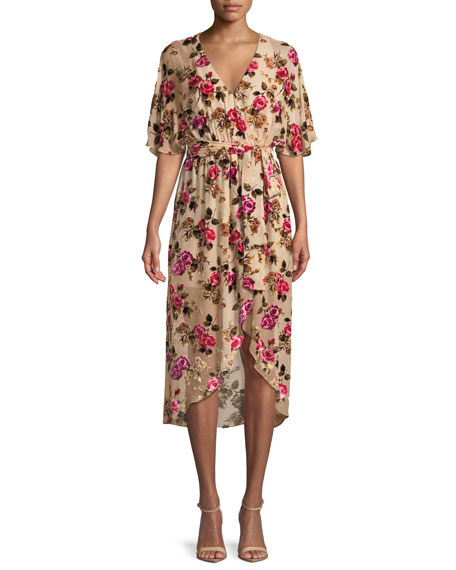 Alice + Olivia Clarine Floral-Burnout Wrap Dress with