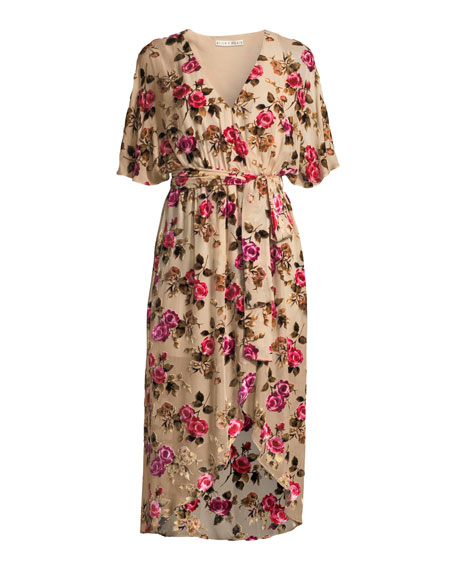 Clarine Floral-Burnout Wrap Dress with Oversize Sleeves