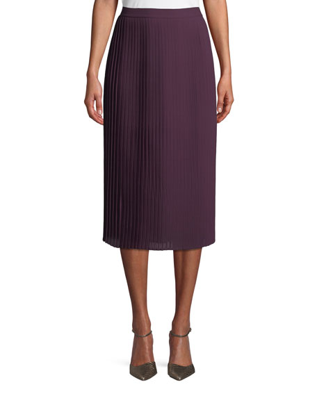 Pleated Recycled Polyester Midi Skirt, Petite