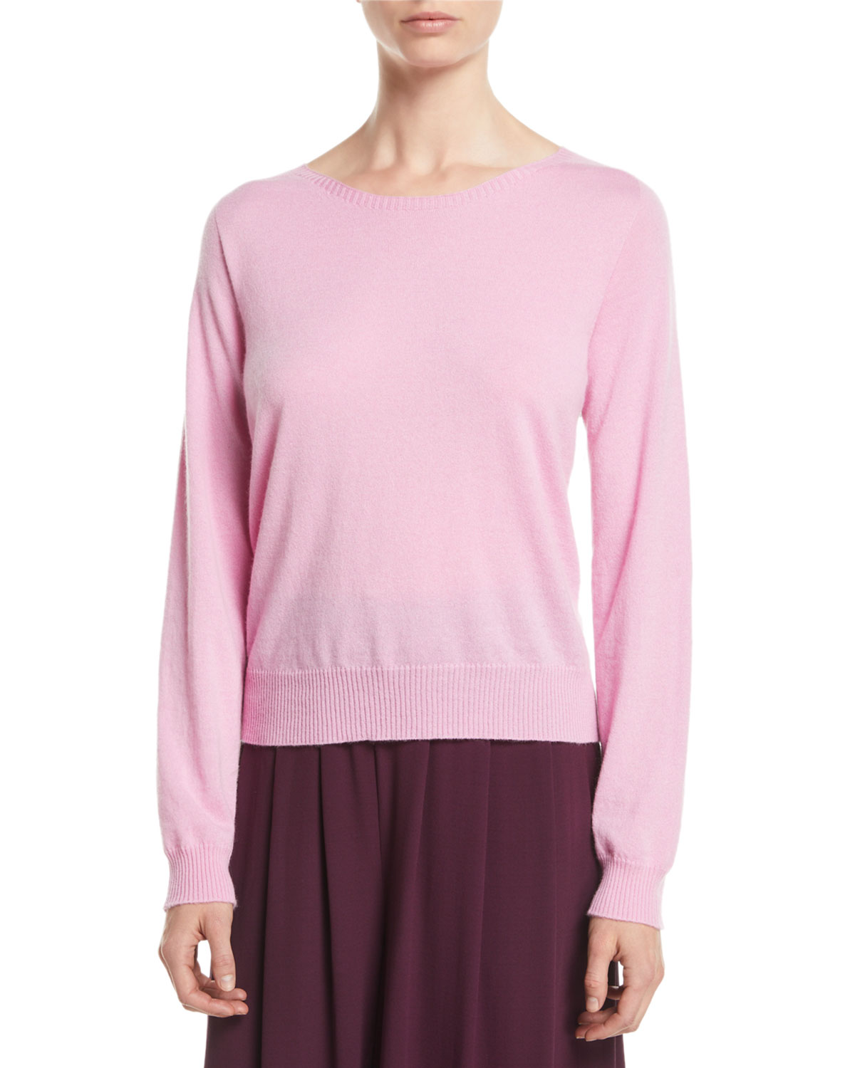 2219c83fb0a Eileen Fisher Italian Cashmere Boat-Neck Sweater