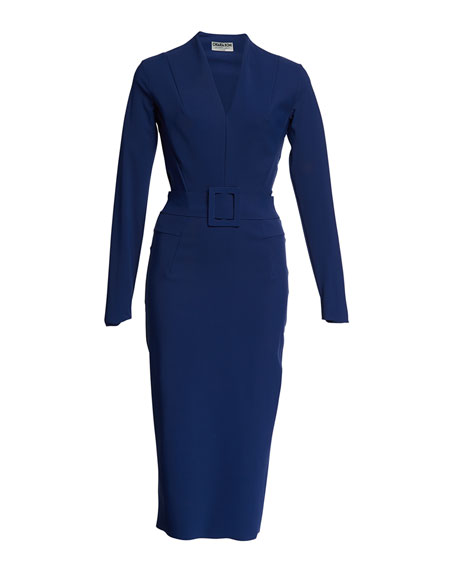 Chiara Boni La Petite Robe Evalda Long-Sleeve Dress w/ Belt