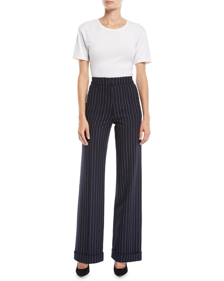 Jonathan Simkhai Newton Pinstripe Tailored Wide-Leg Pants