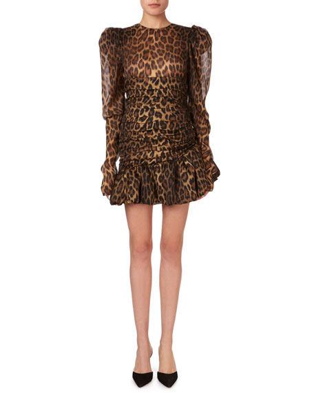 Magda Butrym Borneo Gathered Animal-Print Flounce Mini Dress